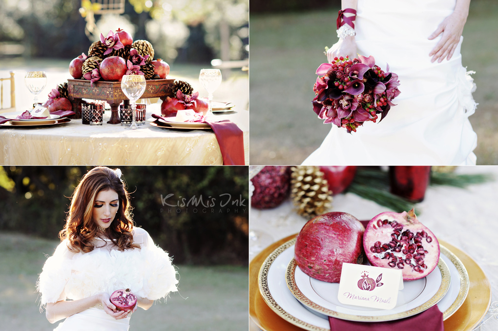 Red Winter Pomegranate Wedding Editorial Tampa Wedding Photographers